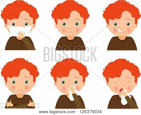 Sick Red-haired Boy With Flu Mask, Thermometer And Handkerchief