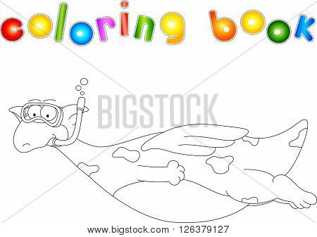 Cartoon Dragon Diver. Coloring Book For Kids
