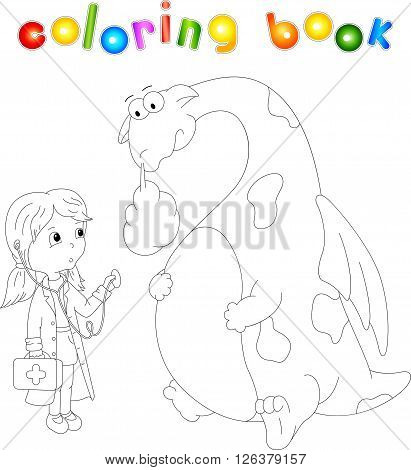Funny Ill Dragon Isolated On White. Coloring Book For Kids