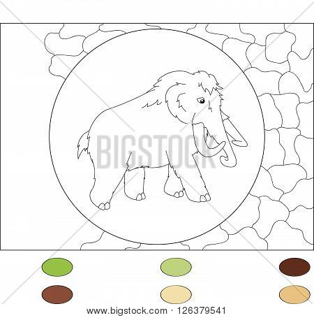 Cartoon Ancient Rhino. Color By Number Educational Game For Kids