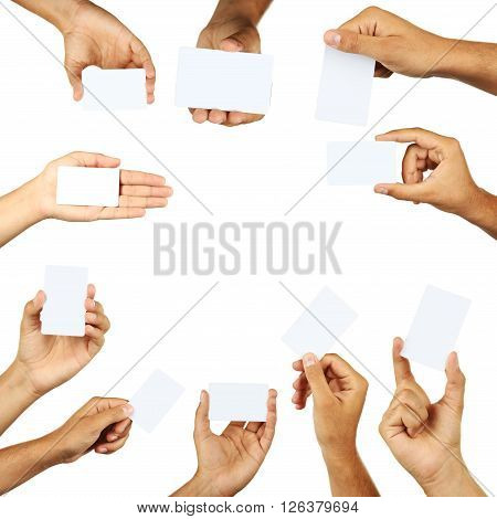 The Hand holding a business card collage