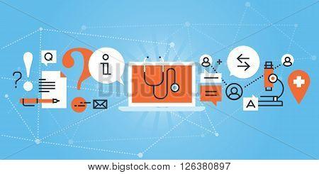 Flat line design website banner of online medical diagnosis and treatment. Modern vector illustration for web design, marketing and print material.