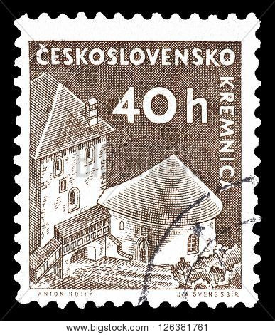 CZECHOSLOVAKIA - CIRCA 1960 : Cancelled postage stamp printed by Czechoslovakia, that shows Kremnica castle.