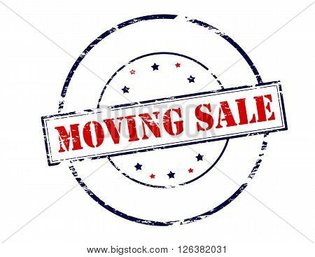 Rubber stamp with text moving sale inside vector illustration