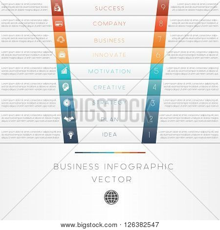 Vector illustration template of business infographic numbered nine position