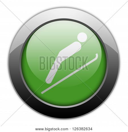 Icon Button Pictogram with Ski Jumping symbol