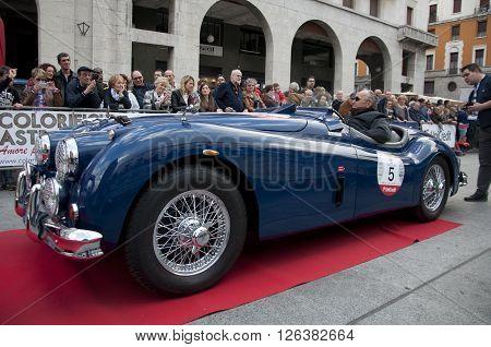 BRESCIA, ITALY - APRILE 17, 2016:500 Miglia. Finish. JAGUAR XK140, 1954 built