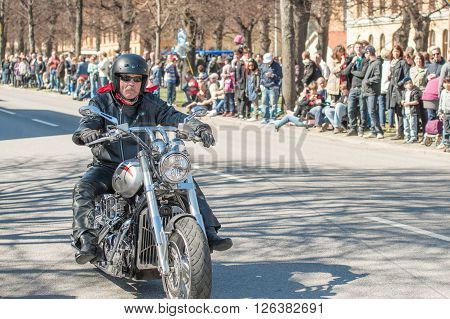 NORRKOPING, SWEDEN - MAY 1: Bikers parade celebrates spring on May 1, 2013 in Norrkoping, Sweden. This parade started in 1974 with classic cars and has become an annual tradition in on May 1.