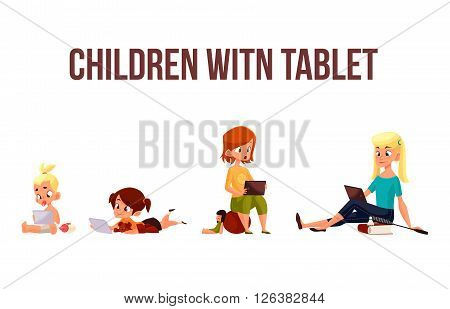 Children girls of different ages played in tablet and did not play in street, vector cartoon concept of todays children, the children sit and chat on the Internet, four girls looking at smartphone