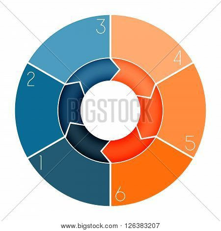 Template Infographic ring chart text area numbered for six position
