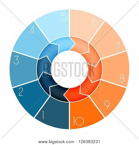 Template Infographic ring chart text area numbered for ten position