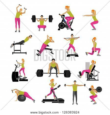 Fitness and workout exercise in gym. Vector set of gym icons in flat style isolated on white background. People in gym. Gym equipment, dumbbell, weights, treadmill, ball.