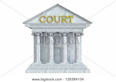 Court building 3D rendering isolated on white background