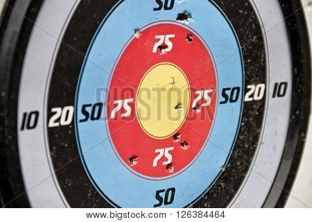 the sport target with the bullet holes