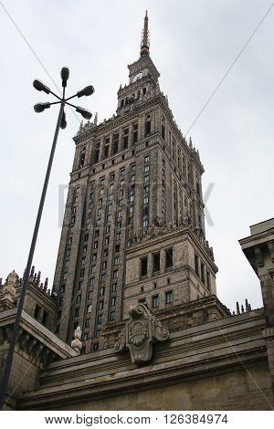 Warsaw Poland - August 27 2008: The Palace of Culture and Science in the city center of Warsaw built in 1955. The Palace of Culture and Science with 231 meters is the tallest building in Poland.
