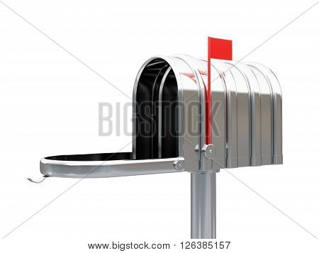 3d illustration of opened chrome metal empty mailbox isolated on white background
