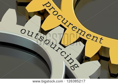 Procurement Outsourcing concept on the gearwheels 3D rendering