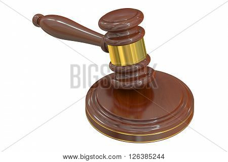 Wooden Gavel 3D rendering isolated on white background