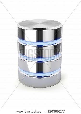 Chrome Hard Disk Drive, Metal Data Storage, Light Stripes Database