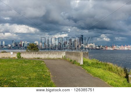 A view of the middle of the Seattle skyline across Elliott Bay.