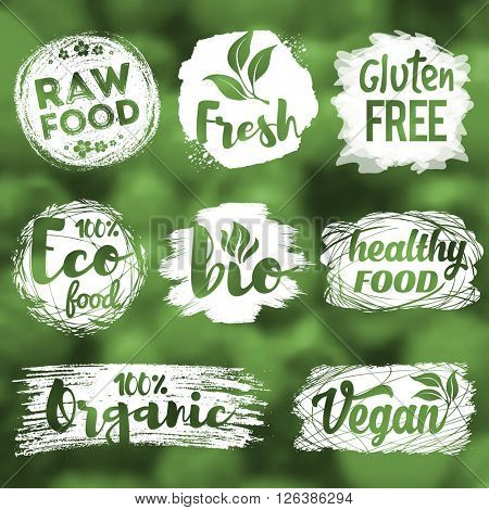 Labels, logos and badges set with healthy, eco, organic and raw food diet designs for meal and drink, shops, cafe, restaurants and products packaging. Vector illustration.