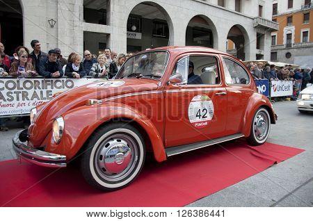 BRESCIA, ITALY - APRILE 17, 2016:500 Miglia. Finish. VOLKSWAGEN BEETLE, 1967 built