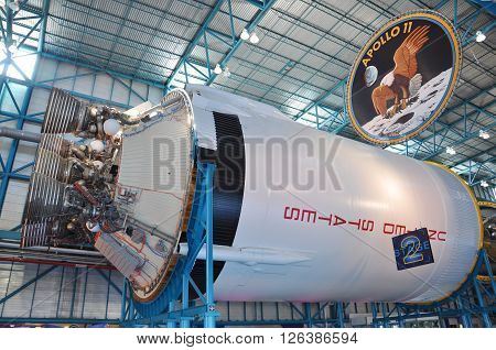FLORIDA, USA - DEC 20: Saturn V Rocket stage II displayed in Apollo/Saturn V Center, Kennedy Space Center Visitor Complex on Dec. 20, 2010 in Cape Canaveral, Florida, USA.