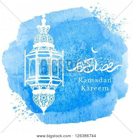 Ramadan Kareem greeting with arabic lantern and hand drawn calligraphy lettering which means ''Ramadan kareem'' on watercolor art background. Editable Vector illustration.
