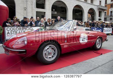 BRESCIA, ITALY - APRILE 17, 2016:500 Miglia. Finish. ALFA ROMEO SPIDER, 1967 built