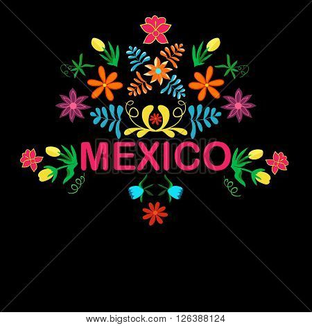 Mexico flowers pattern and elements. Vector illustration