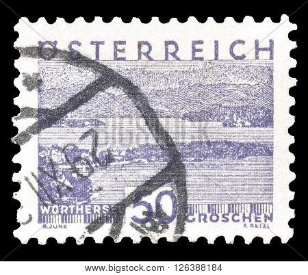 AUSTRIA - CIRCA 1930 : Cancelled postage stamp printed by Austria, that shows Worthersee.