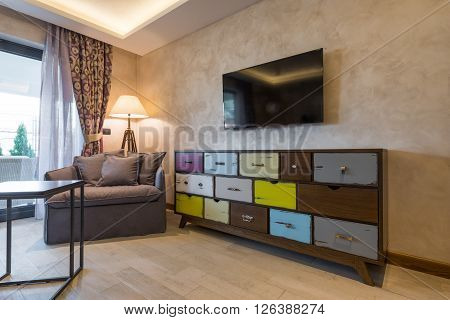 Shabby Chic Style Commode With Colorfull Drawers In Modern Home Interior