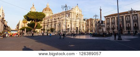 CATANIA ITALY - MARCH 20: View of Catania cathedral in Sicily on March 20 2016