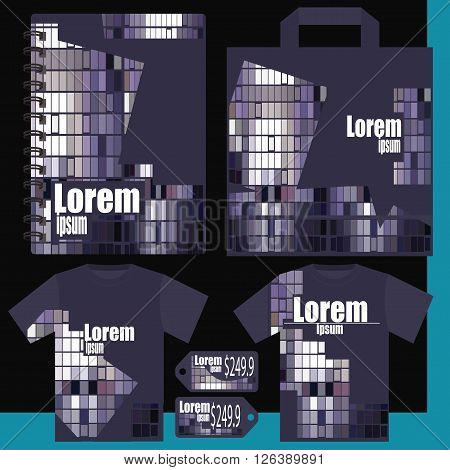 T-shirt, price list, a notepad, a package - gray purple