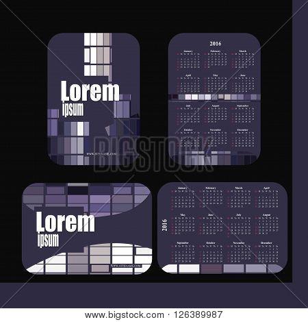 pocket calendar 2016. Template calendar grid. Vertical horizontal orientation of days of week. Illustration in vector format - gray purple