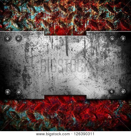 rusty diamond metal plate background