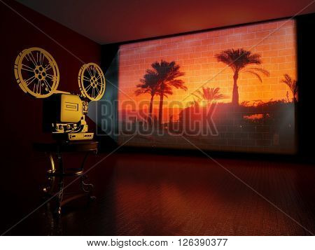 Movies on the wall in the room.,3d render