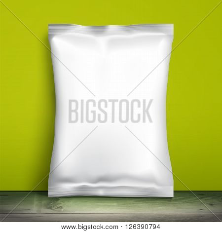 Blank white packaging. Sample package. Blank template for design. Net packaging is on shelf. Mockup Foil Food Snack pack, packaging, wrapper. Plastic Pack Template for design and branding. Green wall