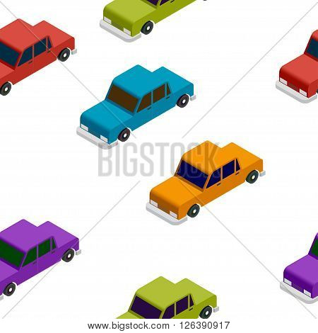 Isometric basic colorful car seamless pattern vector illustration