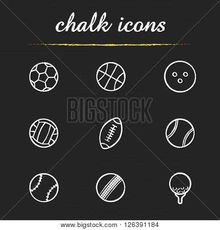 Sport balls chalk icons set. Baseball, rugby, golf and cricket game equipment. Soccer volleyball and american football balls. White illustrations on blackboard. Vector chalkboard logo concepts