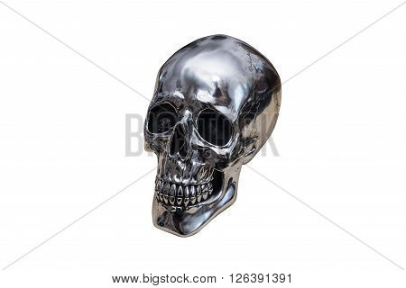 metal chrome skull isolated on white background