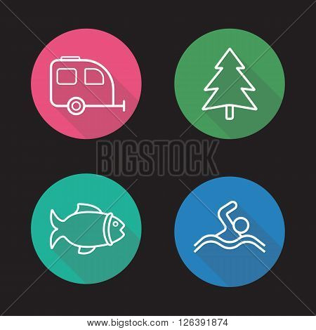 Camping flat linear long shadow icons set. Trailer, fir tree, fishing and swimming signs. Vacation and outdoor pastime symbols. Outline logo concepts. Vector line art illustrations