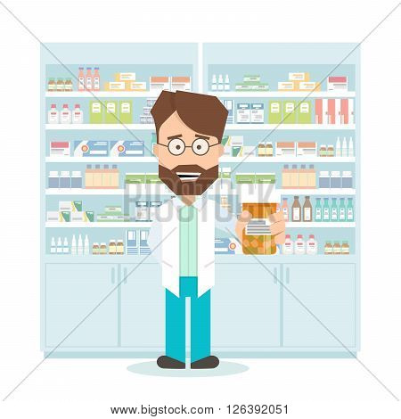 smiling pharmacist in a pharmacy. shelves with medications