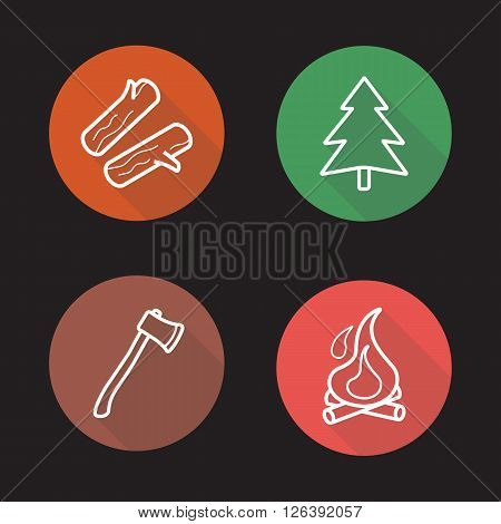 Camping flat linear long shadow icons set. Firewood, fir tree, ax and campfire symbols. Outdoor, wild nature recreation items. Outline logo concepts. Vector line art illustrations