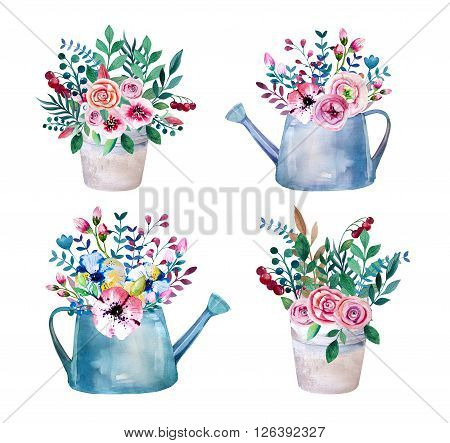 Set of watercolor bouquets . spring flowers in pot. Rustic outdoor floral set . shabby chic style. tulip lavander gardening country design. florist plant decoration. Isolated white.