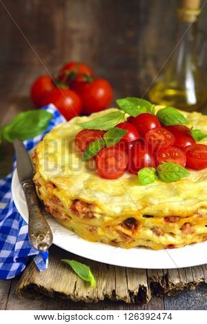 Lasagna Pie With Chicken And Dried Mushrooms.