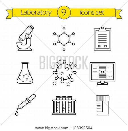 Laboratory tools linear icons set. Thin line research lab equipment illustrations. Scientific, pharmaceutical and medical lab appliance contour symbol. Vector isolated outline drawings