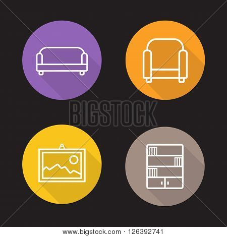 Interior flat linear icons set. Sofa, armchair, wall picture and bookcase. Living room furniture symbols. Long shadow outline logo concepts. Vector line art illustrations