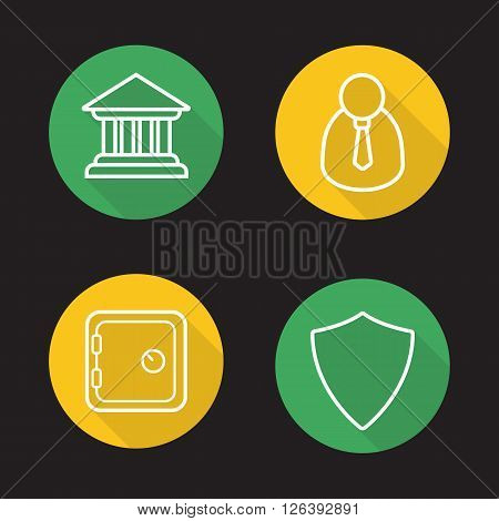 Online banking flat linear long shadow icons set. Bank building, client manager, deposit box and shield symbols. Finance security items. Outline logo concepts. Vector line art illustrations
