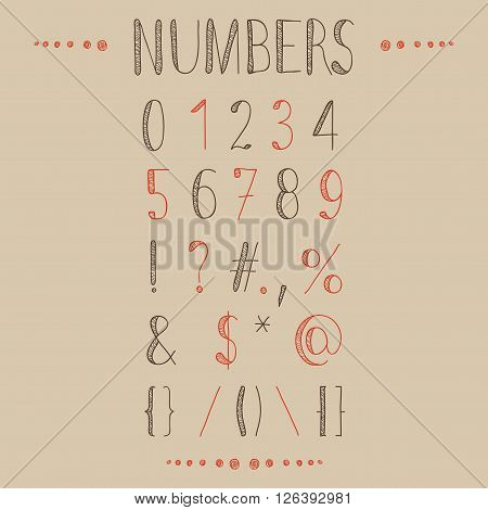 Hand drawn numbers with most common keystrokes, question marks, points, commas, brackets, stars, etc. Easy to use and edit numerals and other signs.